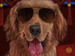狗年生肖油画《旺旺》