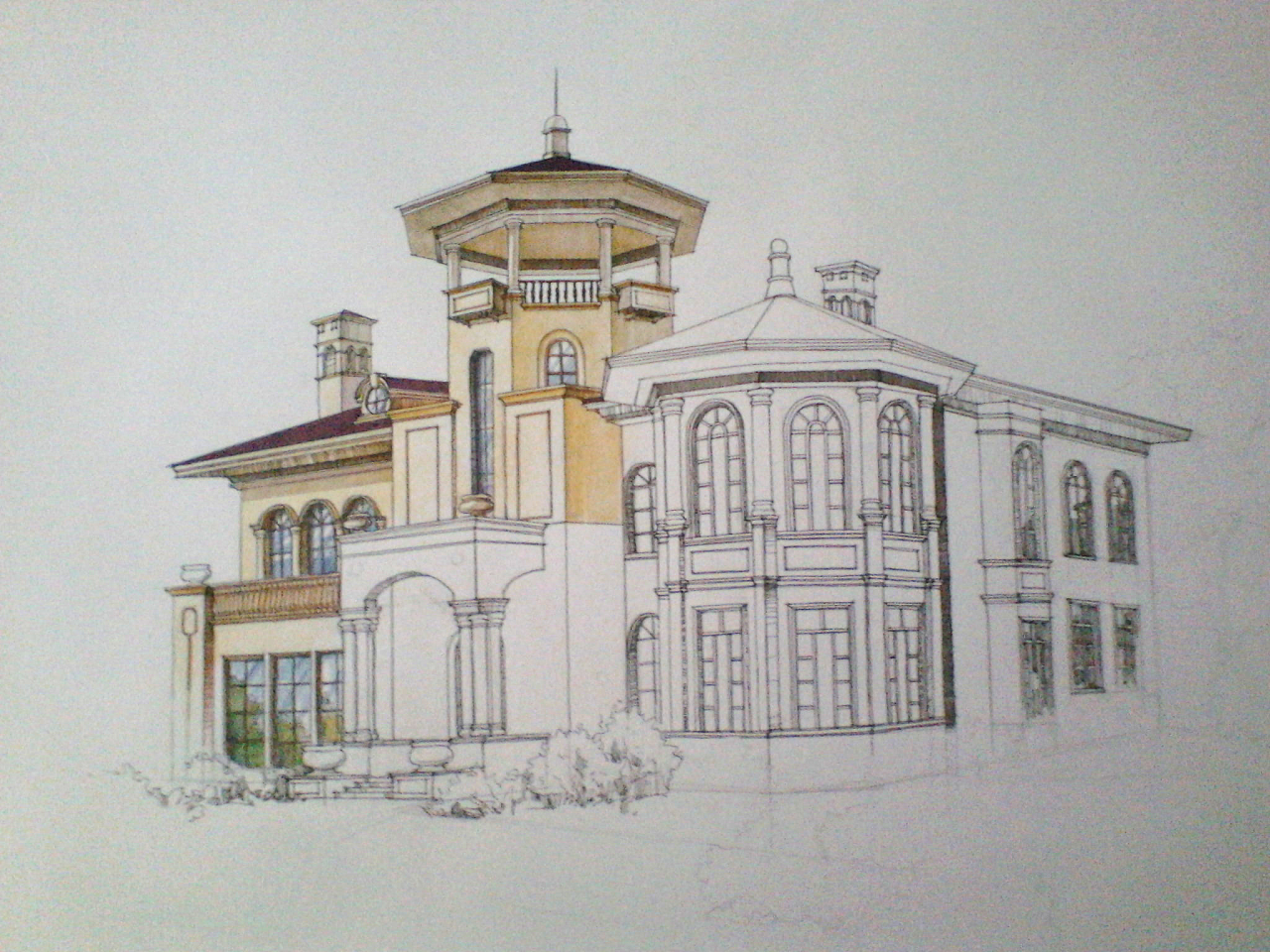 欧式风格别墅外观手绘效果图(上色步骤)