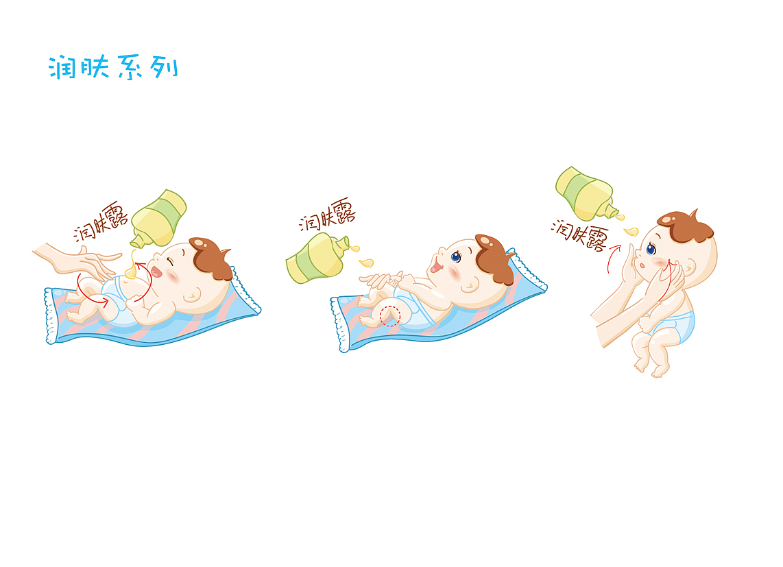 婴儿生活手绘 钢笔修形插画矢量