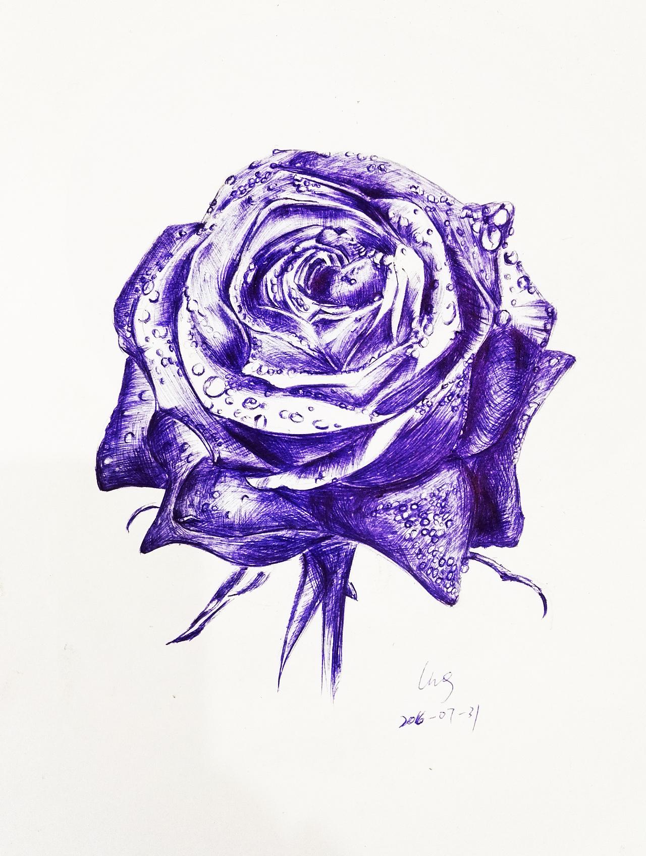 圆珠笔玫瑰花