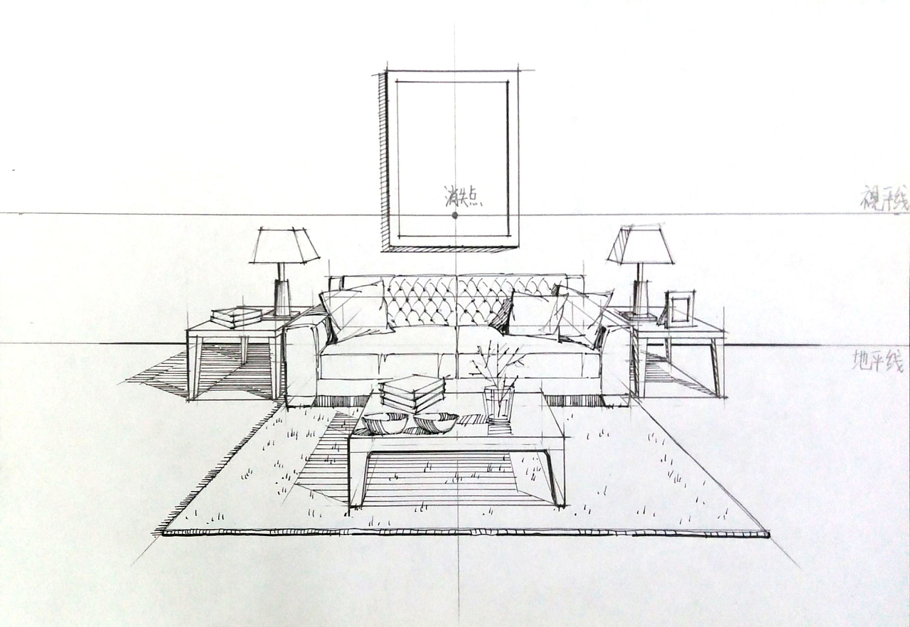 一叶手绘室内设计手绘线稿