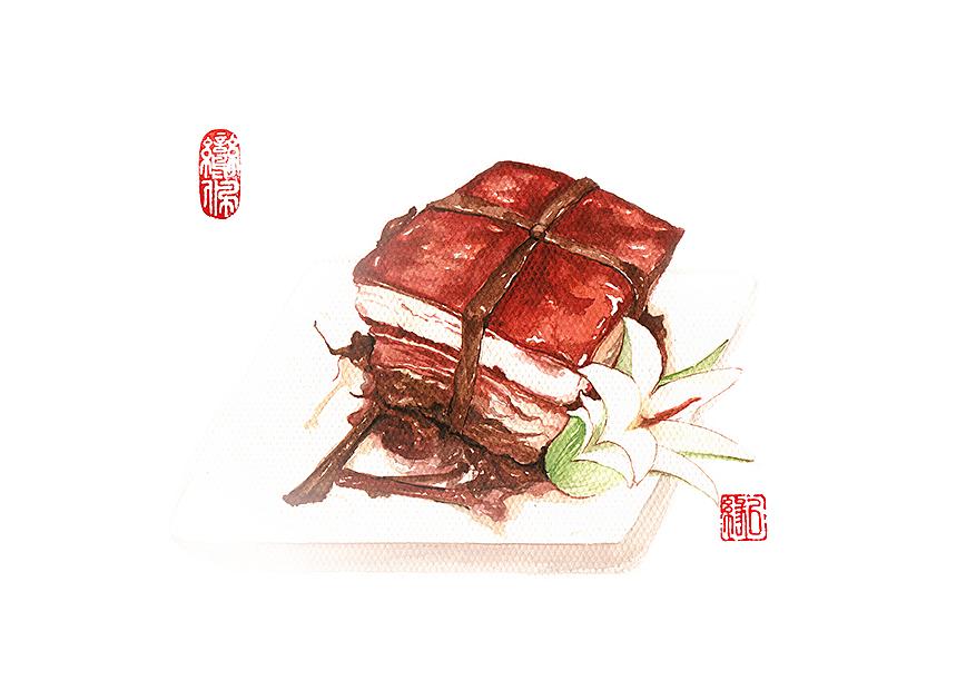 【原创】水彩手绘:杭州名菜