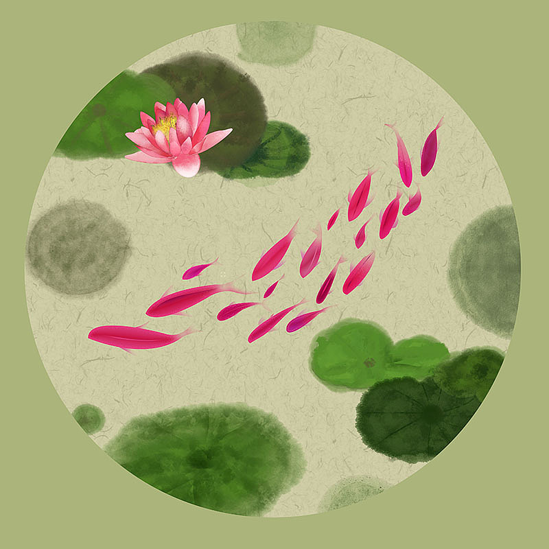 24节气夏至古风原创手绘新中式水墨画