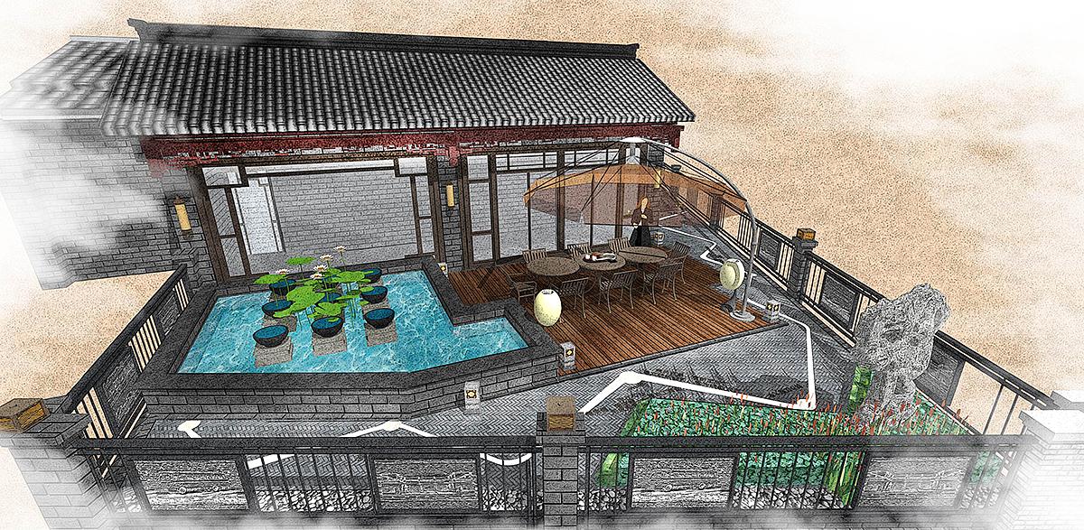 某古镇中式酒店屋顶花园su模型效果图(日景和夜景)图片