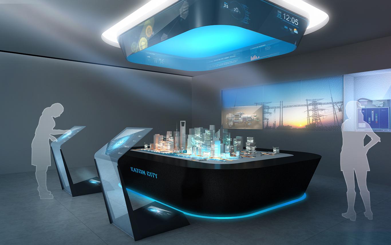 空间与多媒体_eaton展厅互动多媒体方案设计图片