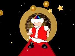 圣诞老人被星星彩球雪环绕快乐的跳舞christmas father