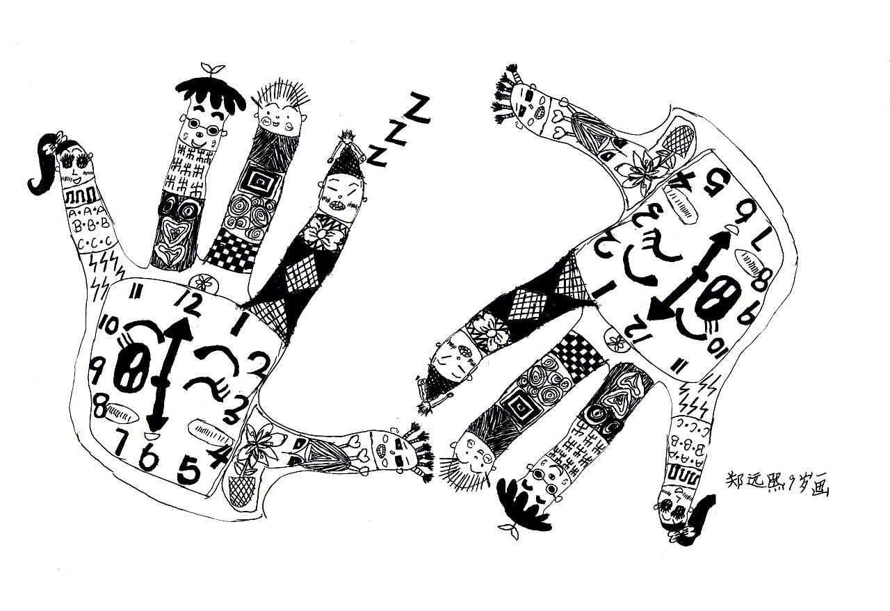 学生黑白花手套装饰画图片