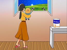 坦图奶粉11月品牌插画儿童母婴立冬射手座