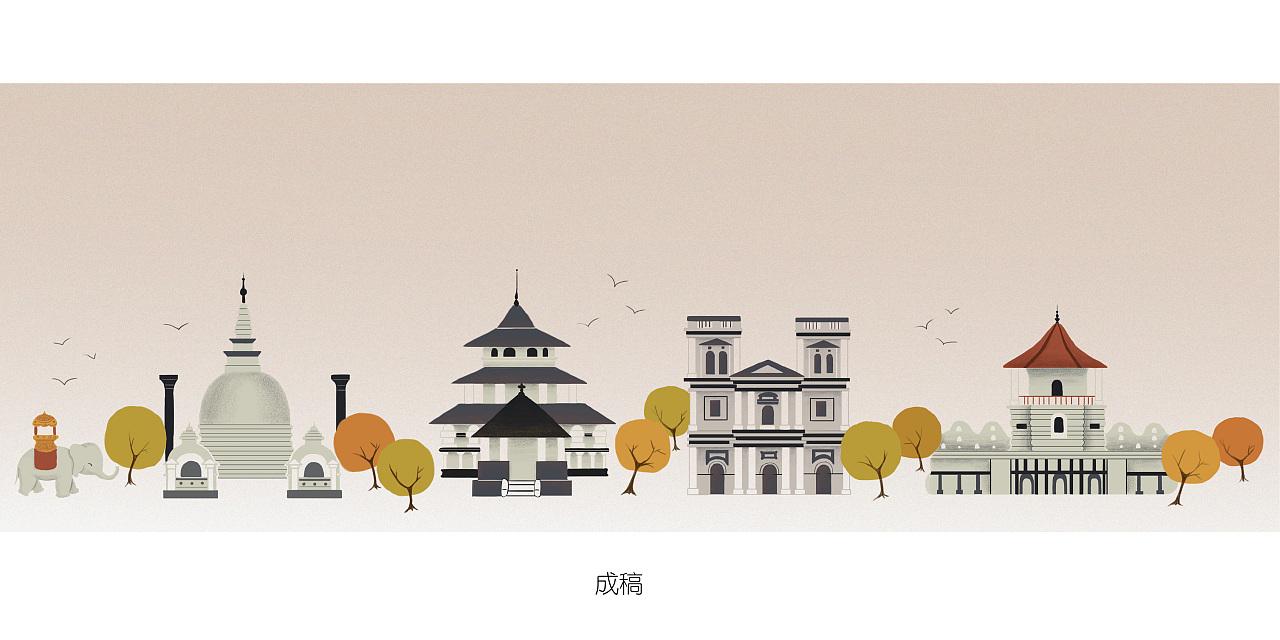 斯里兰卡|日式手绘建筑插画