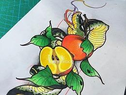 主题 水果与蛇纹身手稿