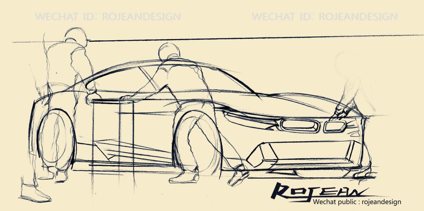 赛车拉力赛设计手绘过程