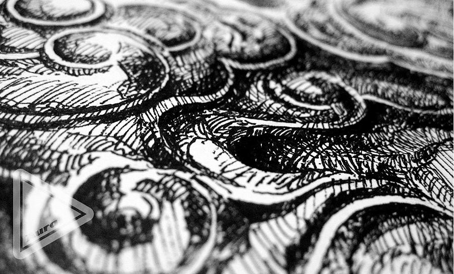 【钢笔手绘】盘龙柱头