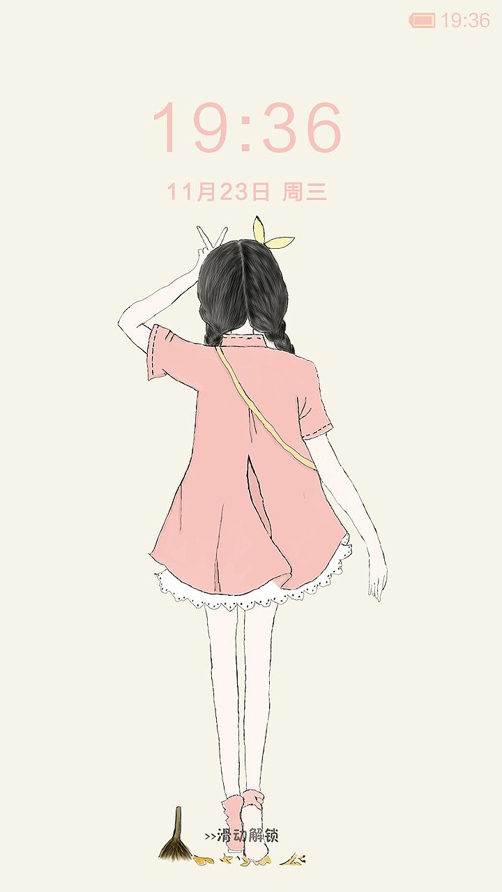 可爱女孩手绘卡通风
