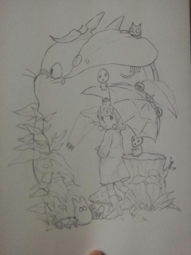 宫崎骏 龙猫水彩 手绘|水彩|纯艺术|以津真天