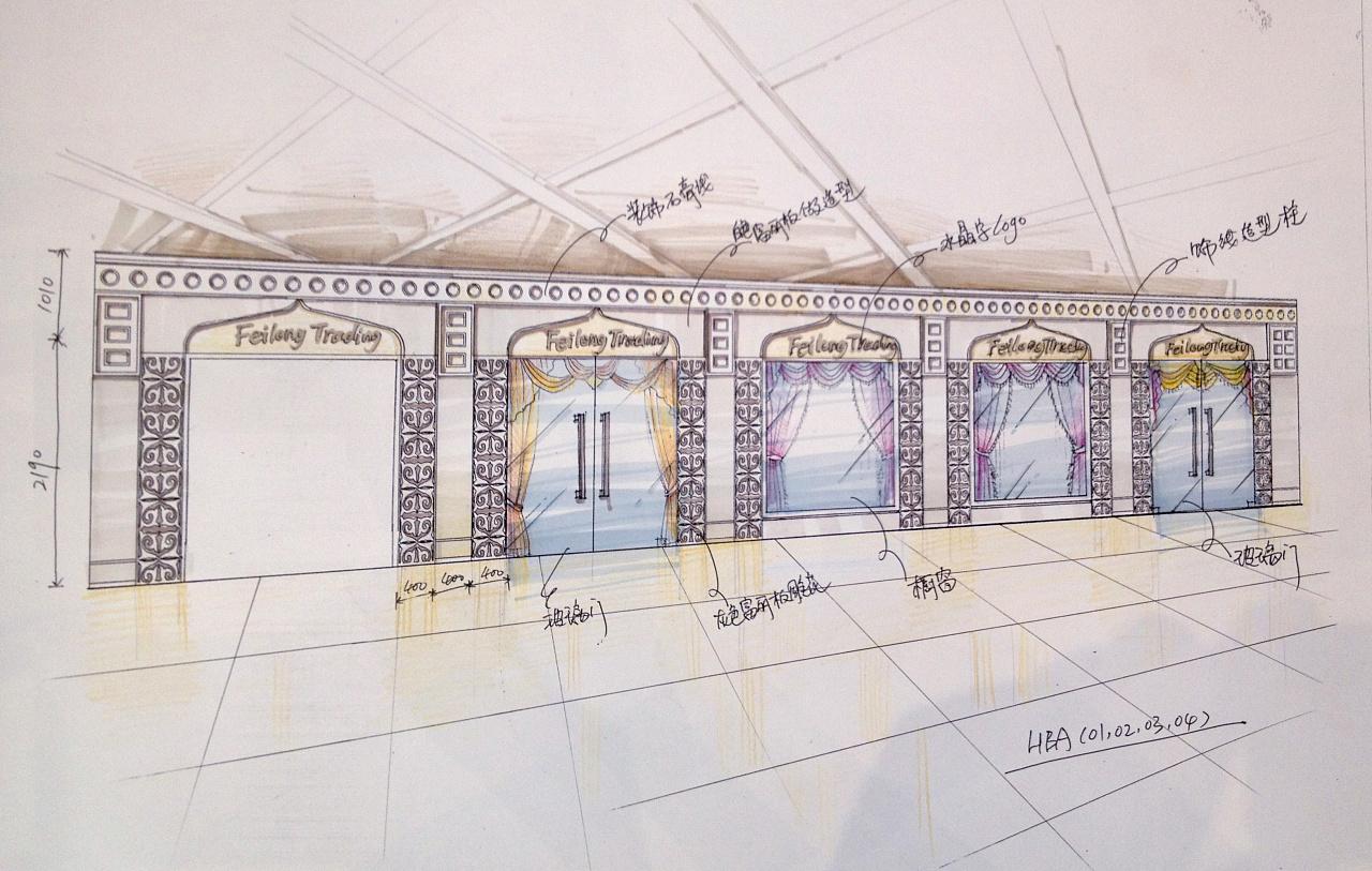 迪拜 商场店面设计 手绘设计方案|空间|展示设计 |翁