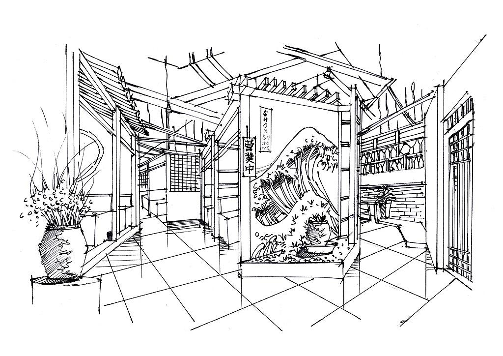 室内手绘餐饮空间实景照片写生云南昆明手绘培训