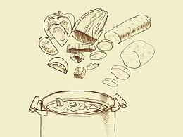 |20180805| 罗宋汤拉面包装插画草稿(搁浅的项目)