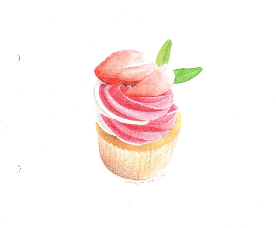 草莓杯子蛋糕—彩铅手绘 甜品