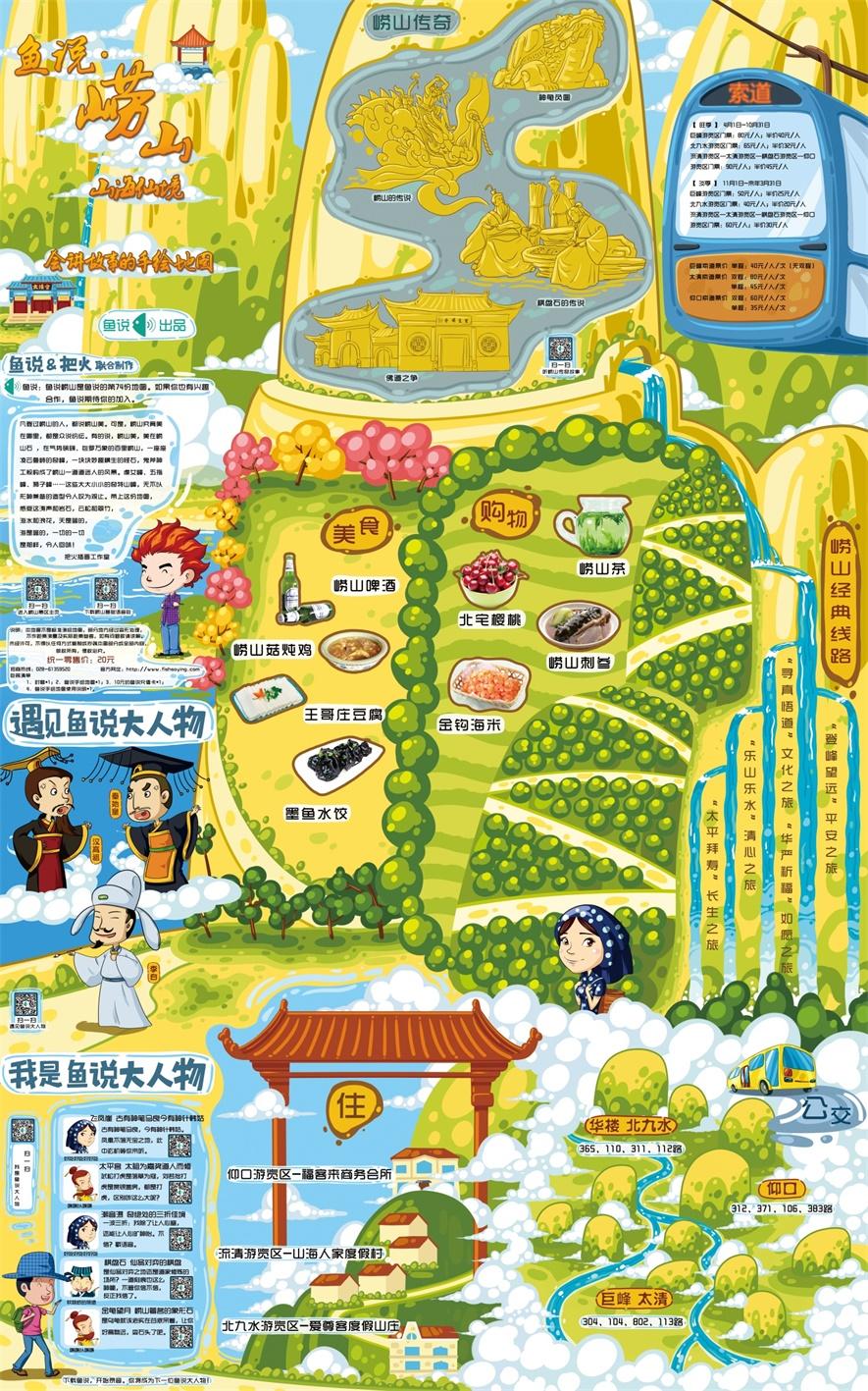 青岛崂山手绘地图|商业插画|插