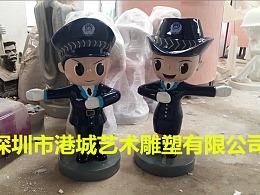 路口街道指导交通玻璃钢警察卡通女警公仔雕塑哪家好厂