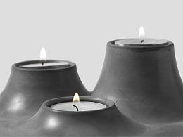 尘市集|水泥香薰烛台混凝土桌面收纳原创个性设计