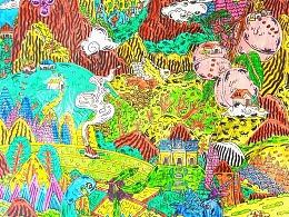手绘旅游文化彩铅作品