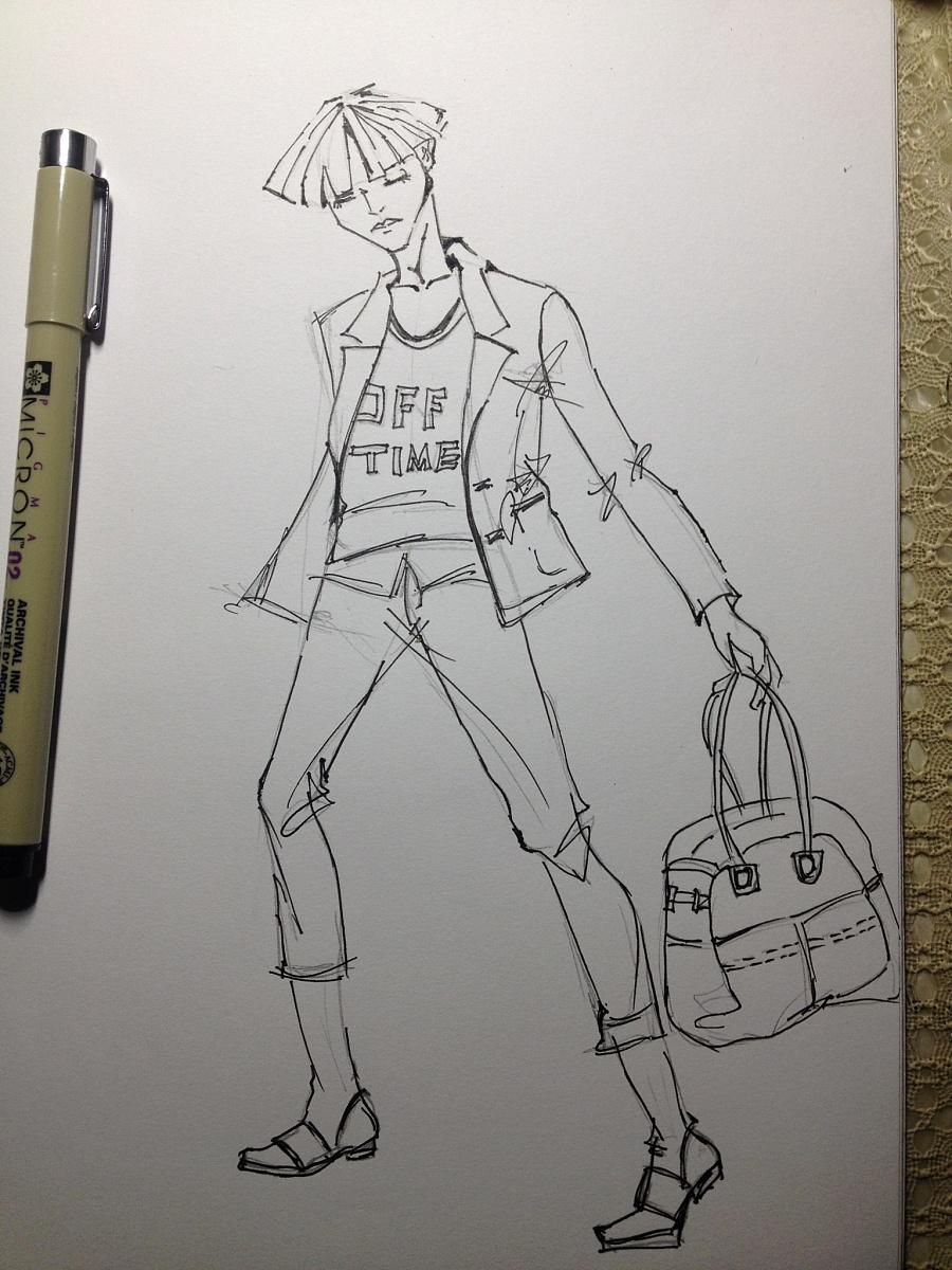 时装画-男装|彩铅|纯艺术|xhh1002883