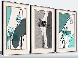 中式手绘水墨荷花极简无框画装饰画三联画