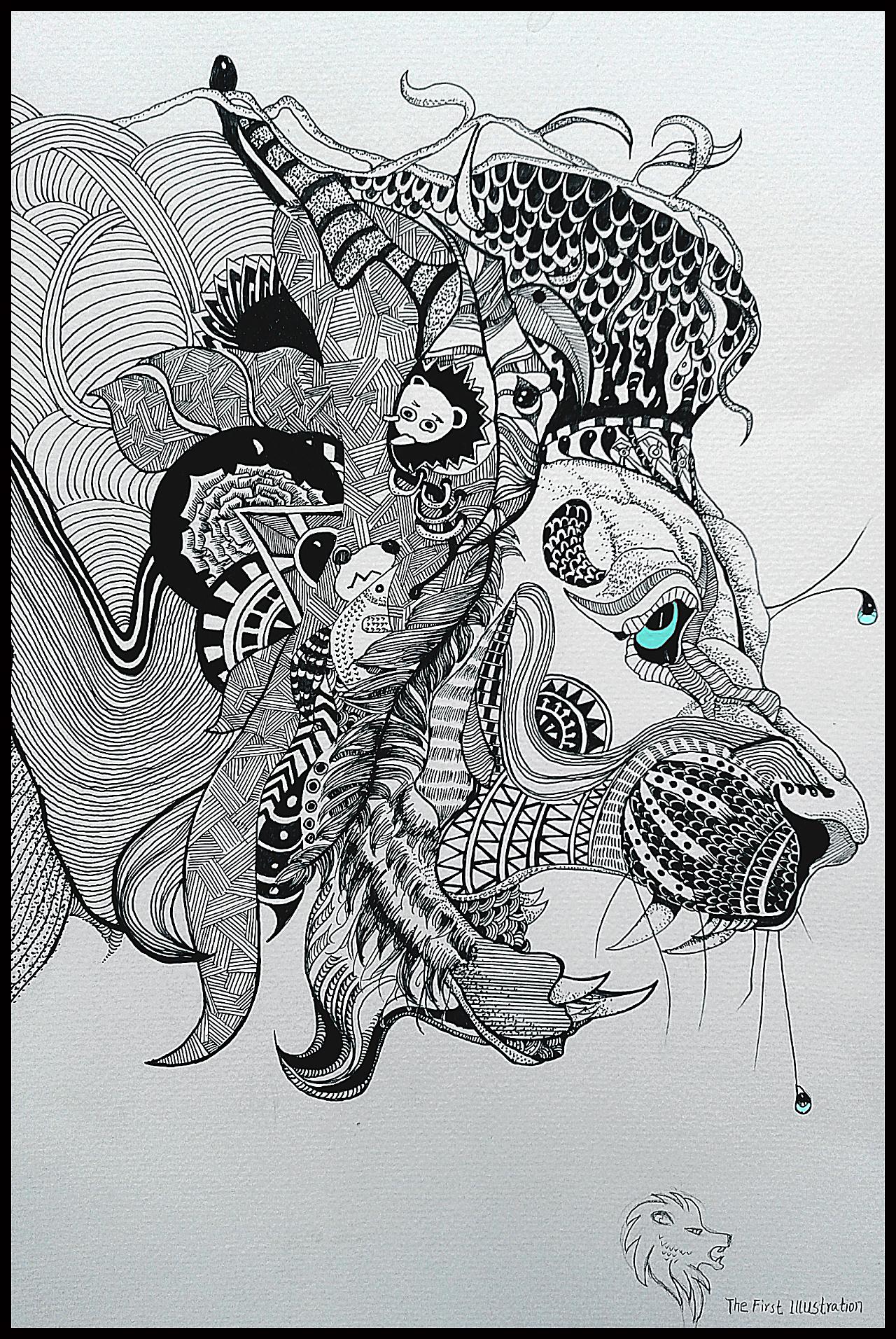 黑白画 狮子