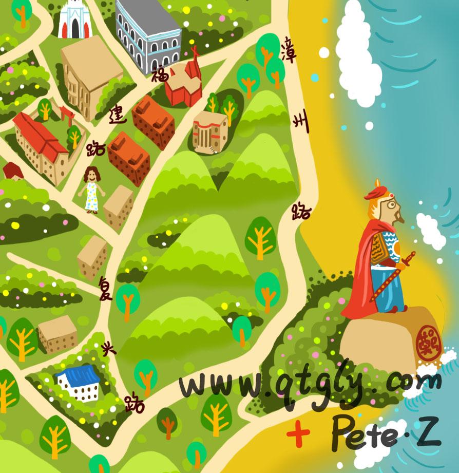 鼓浪屿手绘地图|商业插画|插画|petezheng