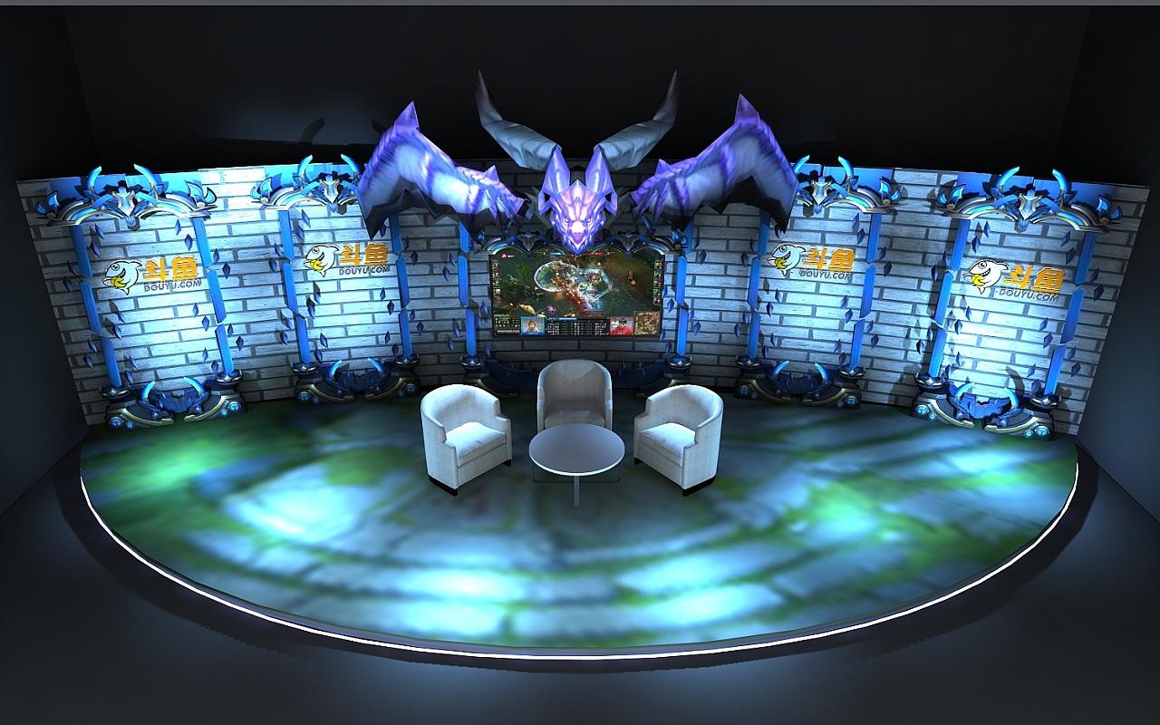斗鱼 英雄联盟 演播厅 转播台 3d效果图设计 直播间图片