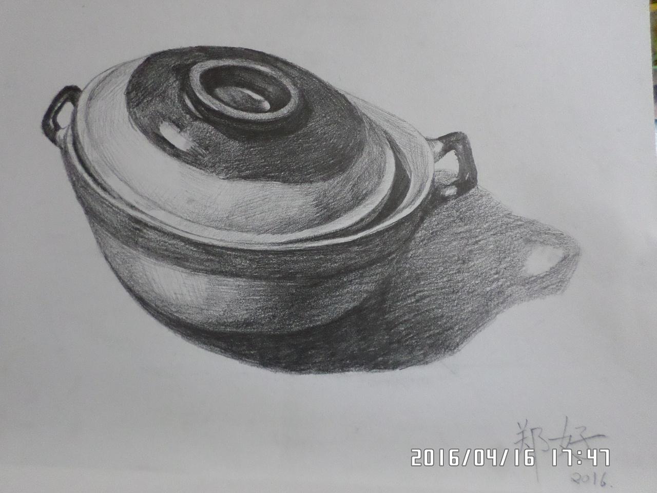 素描结构图茶壶