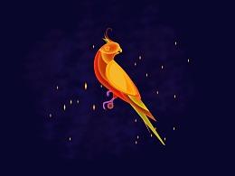 PS插画-发光的鹦鹉