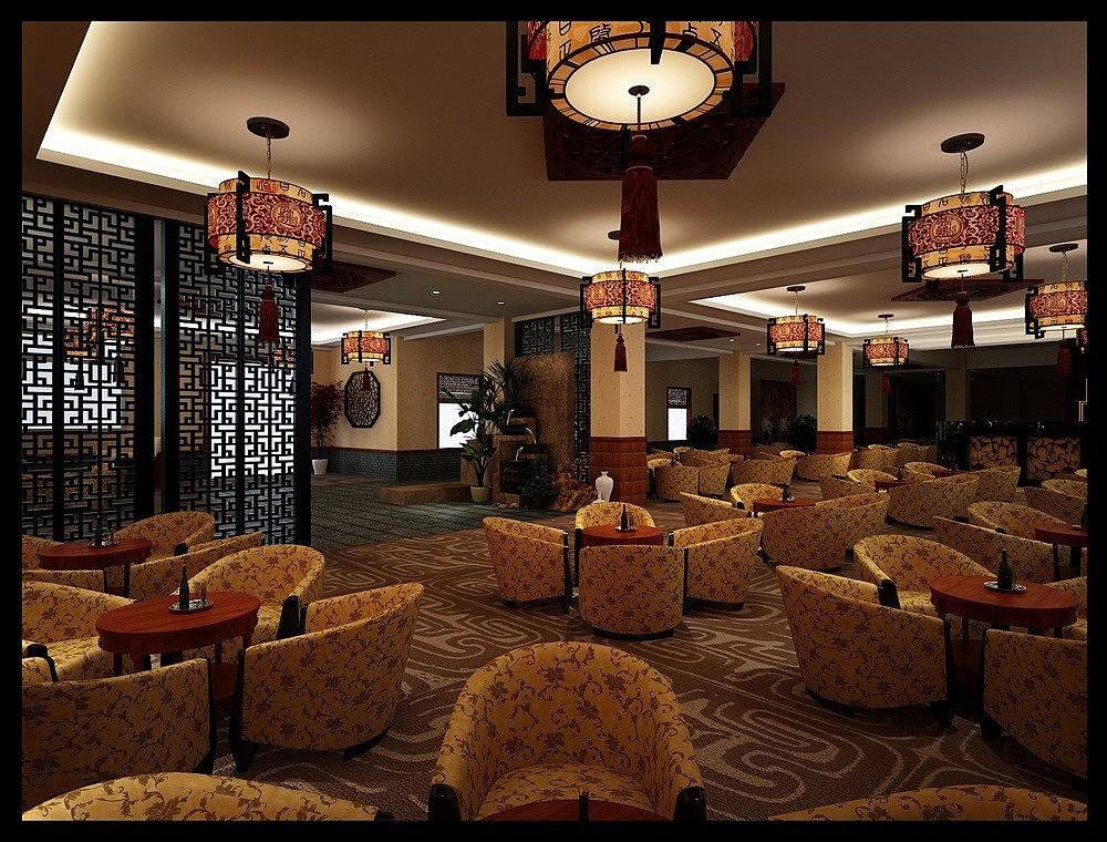 汉中空间装修设计《静远茶楼设计》|展厅|室内茶楼平面图设计图片