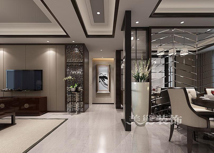 二七万达140平三室两厅现代新中式风格案例装优居设计图图片