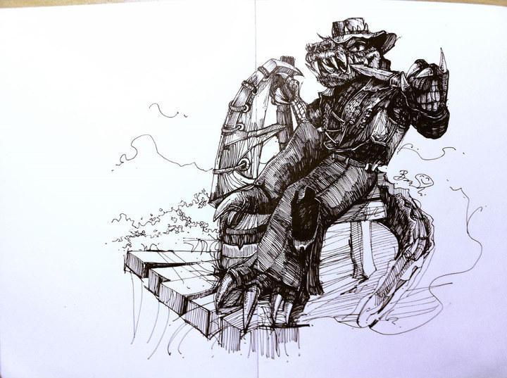 英雄联盟亚索手绘画