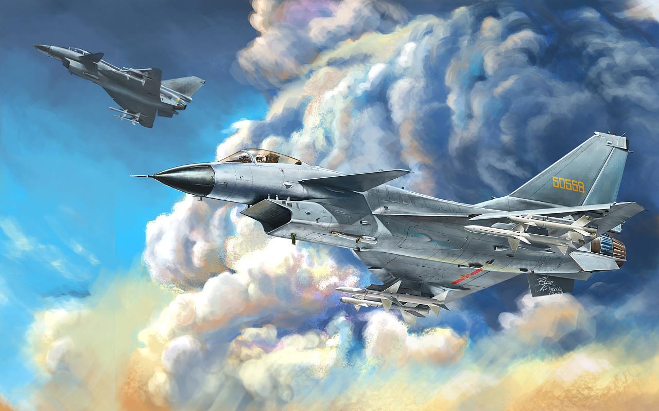 歼10战斗机  军友的绰号棍子  手绘作品