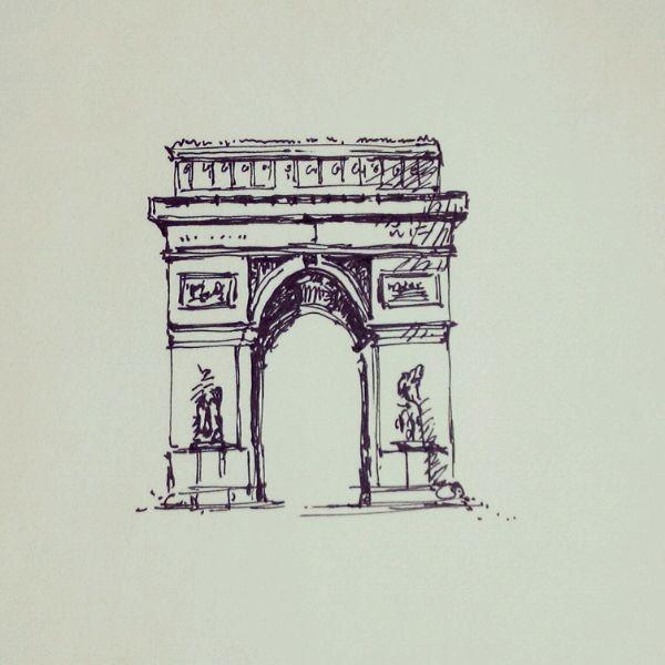 著名建筑黑白手绘