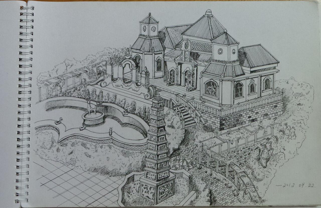 建筑钢笔画习作