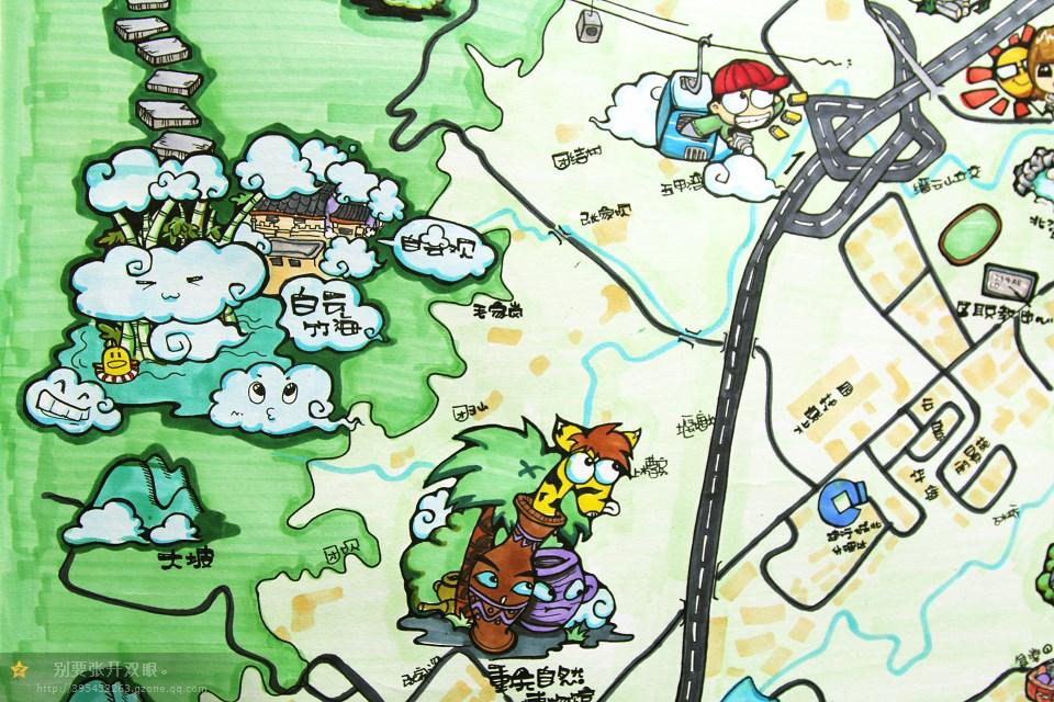 重庆北碚手绘q版地图