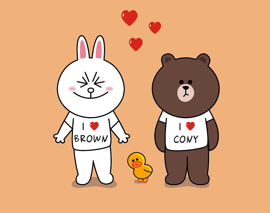 矢量卡通形象插畫 布朗熊和可妮兔插畫
