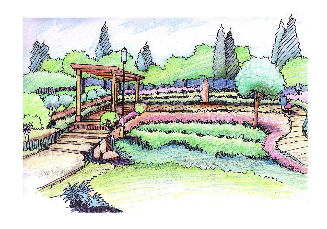 景观廊架效果图
