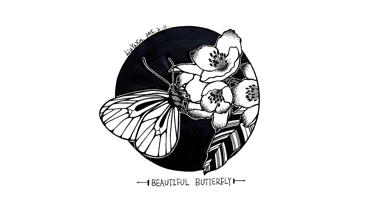 黑白手绘系列 蝴蝶