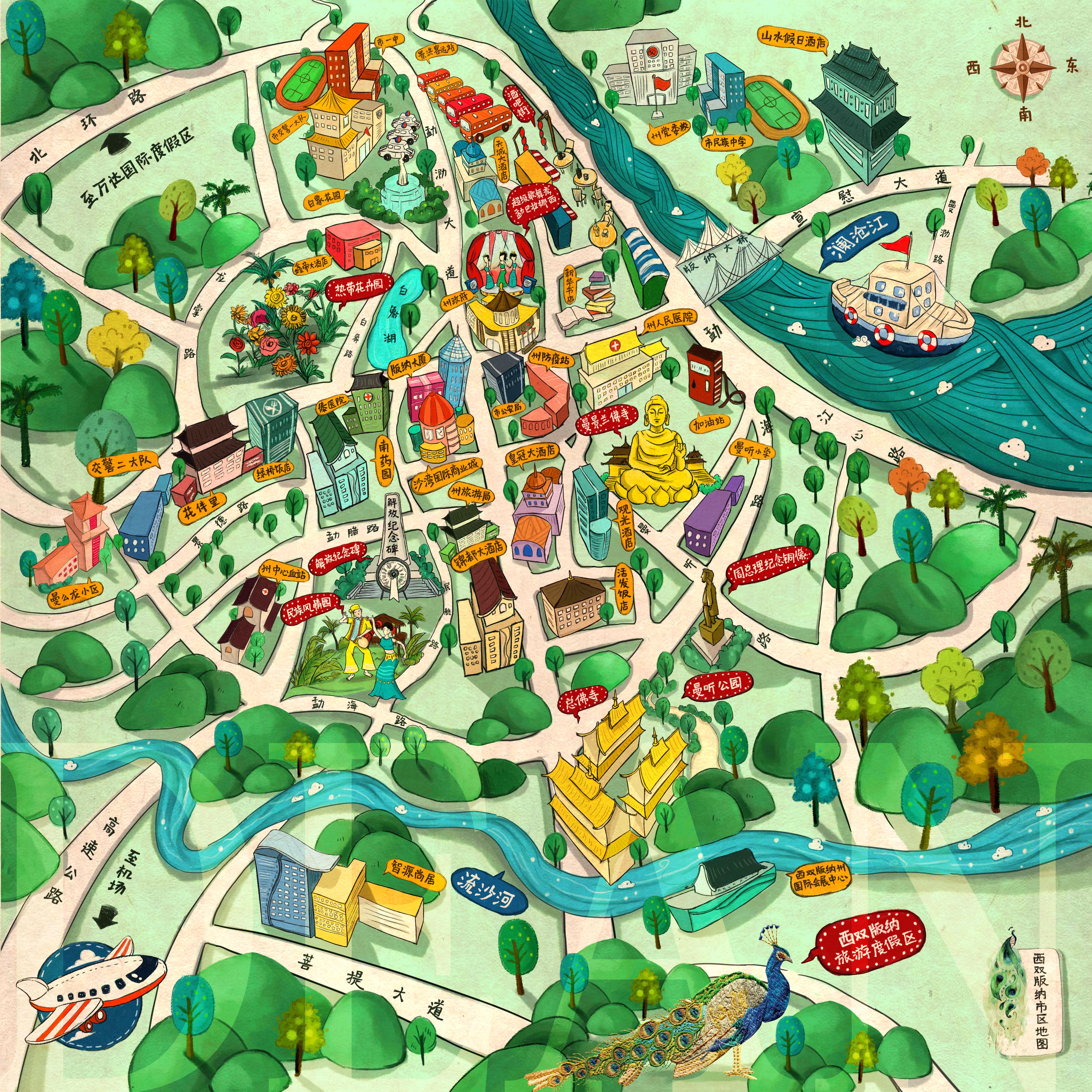 万达版纳手绘地图