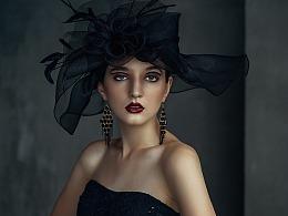 欧美复古黑色婚纱