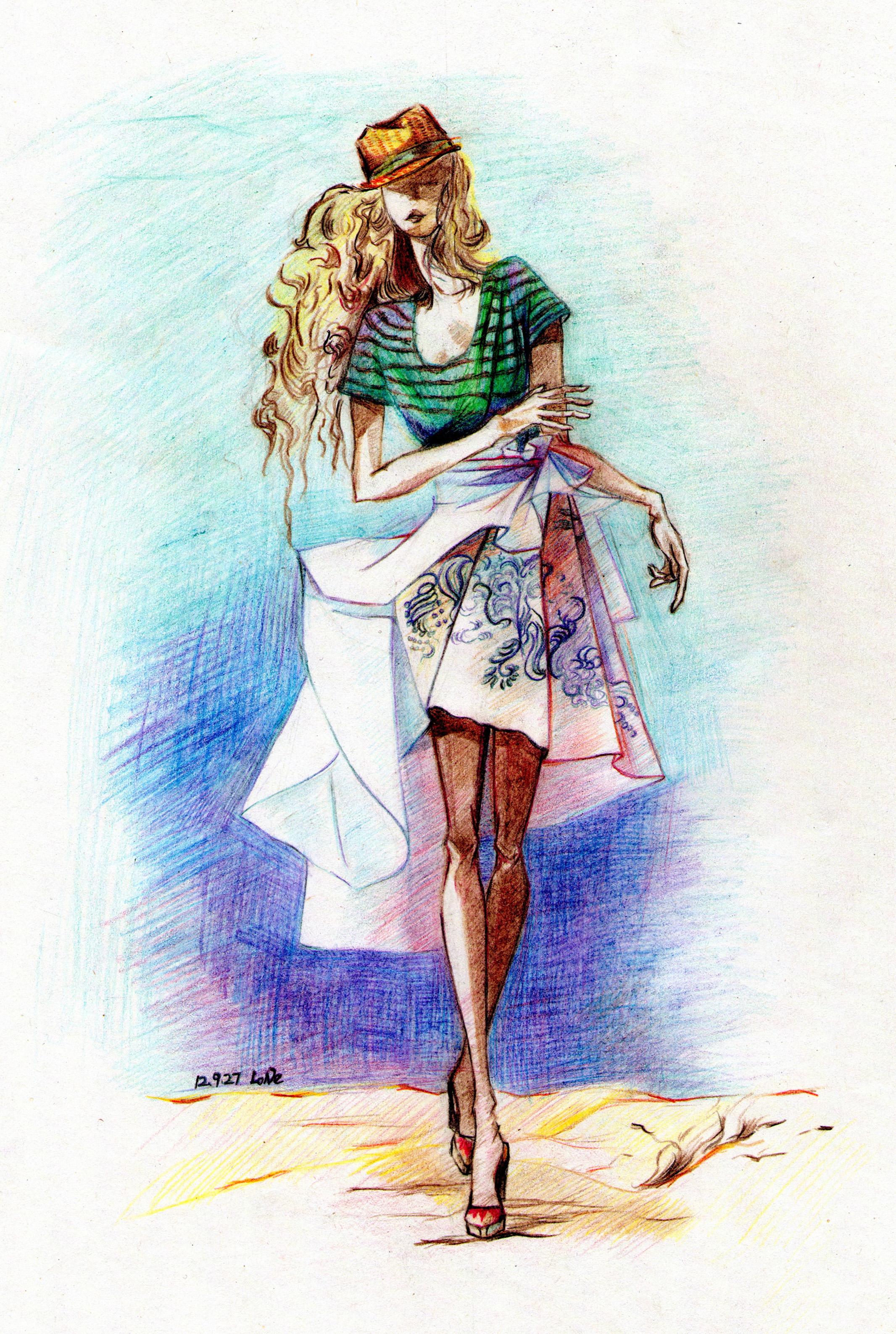 硬彩铅服装设计手绘