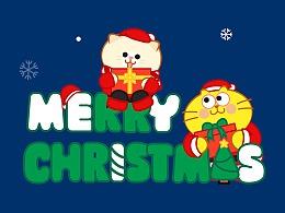 戴圣诞帽的蛋黄猫