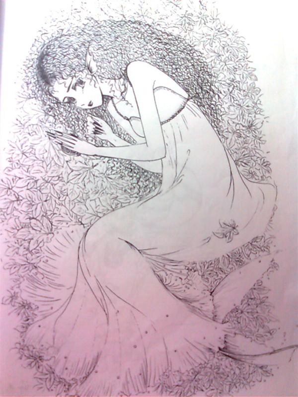 手绘线稿|插画|插画习作|死不回头 - 原创作品 - 站酷