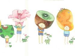 一组花果树木插画