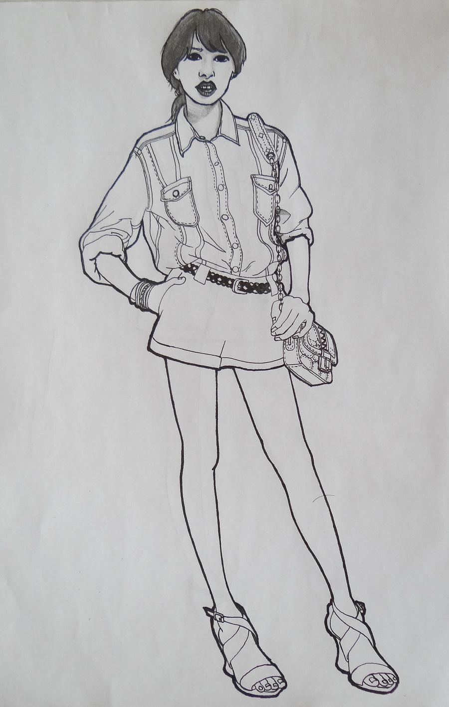 时尚女装铅笔画